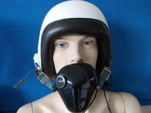 Aeronautic helmet with earphones and microphone
