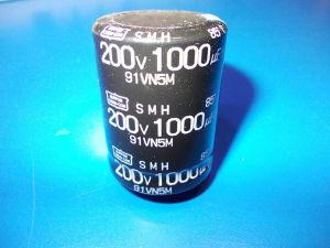 1000uF 200V Condensatore elettrolitico Nippon Chemicon SMH , 40x30