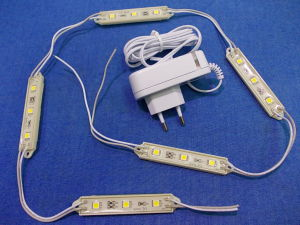 5 each LED modules 12Vdc warm white + 220Vac power supply