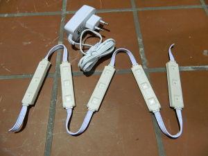 5pcs. RGB LED modules 12Vdc + 220Vac power supply