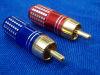 Connettore Audio professionale RCA pin jack  maschio dorati  (n. 2 pezzi)