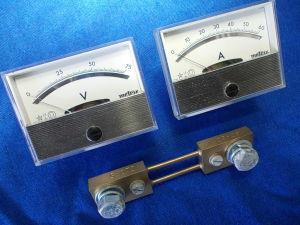 Voltmetro 75Vcc +Amperometro 60Acc completo di shunt