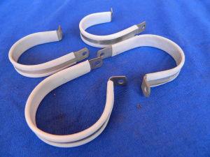 """4 Fascette fissaggio cavi/ tubi avio 2"""" (mm.50) alluminio teflon EAB700 D33"""