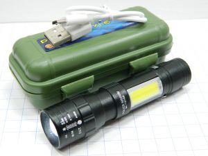 Mini torcia pilot led 3W , pila al Litio ricaricabile USB, con astuccio stagno