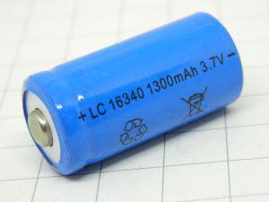 Batteria ricaricabile  Litio Li-Ion 16340 3,7V 1.300mA/h