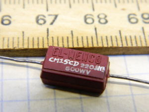 22pF 500Vdc silver/mica capacitor