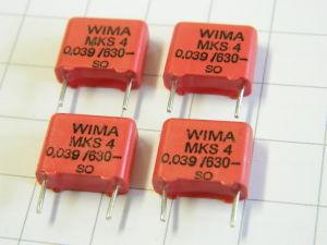 0,039uF 630Vdc condensatore WIMA MKS4 poliestere (n.4 pezzi)