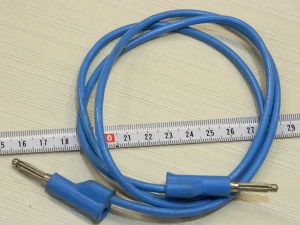 Cable extra flexible 2mmq. with banana plug, blu color cm. 100