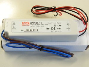 Alimentatore Mean Well LPV-35-15  15Vcc 2,4A  35W,   resinato IP67