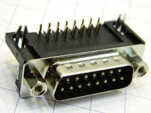 Connettore D SUB 15 pin maschio 90°