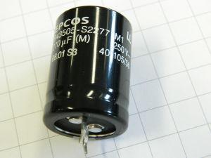 270uF 250Vcc condensatore elettrolitico EPCOS B43505-S2277 M1 snap in 105°