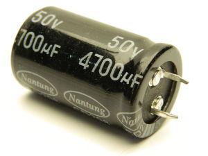 4700uF 50Vcc condensatore elettrolitico Nantung298 105° snap-in