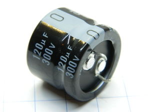120MF 300Vdc capacitor Nichicon CE105° low profile snap-in