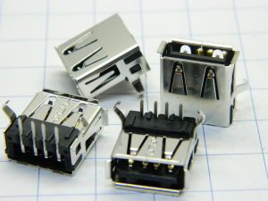 Connector receptable USB printed circuit 90° (n.4pcs.)
