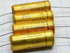 100MF 63Vdc axial capacitor  ROE Gold 31,5x12  (n.4pcs.)