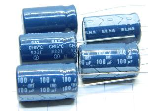 100uF 100Vcc condensatore ELNA  21.5x12,5  (n.5 pezzi)