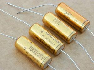 1000MF 25Vdc axial capacitor ROE gold 105° (n.4pcs.)