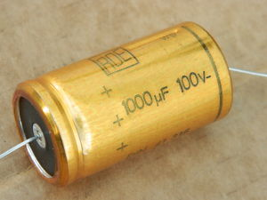 1000MF 100Vdc axial capacitor ROE gold 105°
