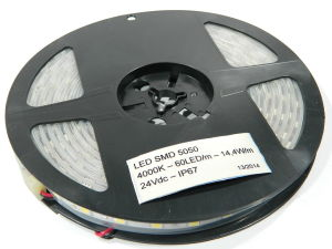 Led strip 5050 5mt. 60led/mt. 24Vdc 14,4W/mt. white 4.000K°  IP65