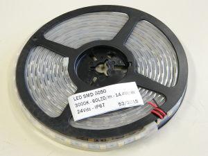 Striscia led 5050 5metri 60led/m. 24Vcc 14,4W/m. bianco caldo 3000K°  IP65