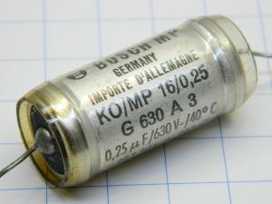 0,25uF 630Vc Bosch MP capacitor KO/MP tropenfest , audio tone, condensatore carta olio
