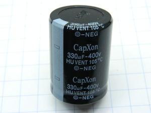 330uF 400Vcc condensatore elettrolitico CapXon HUVENT 105° Snap-in