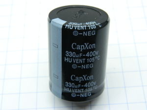 330uF 400Vdc capacitor CapXon HUVENT 105° Snap-in