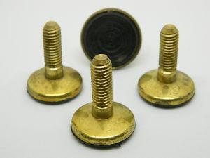 Piede in ottone , gambo filettato M8x25,  diam. mm. 25 (n. 4 pezzi)
