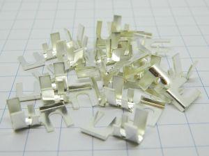 Capicorda terminale 90° a forca argentato foro mm.4, cavo 6mmq. (n.20 pezzi)