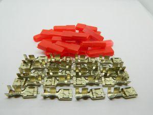 Faston connettore femmina 6,3 ottone stagnato, completi di coprifaston rossi (n.20 pezzi)