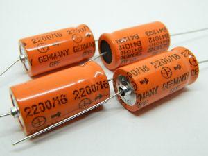2200uF 16V condensatore elettrolitico assiale SIEMENS GPF EPOXY (n.4 pezzi)