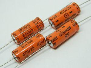470uF 25V condensatore elettrolitico assiale SIEMENS GPF EPOXY (n.4 pezzi)