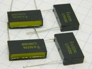 0,39uF 250Vcc condensatore SIEMENS R32234 Klangfilm, vintage nos (n.4 pezzi)