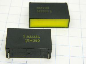 1,5uF 250Vcc condensatore SIEMENS R32234 Klangfilm, vintage nos (n.2 pezzi)
