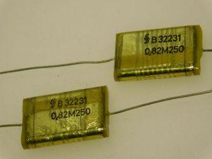 0,82MF 250Vdc axial capacitor SIEMENS B32231 nos (n.4pcs.)