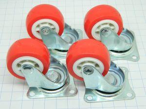 Ruota girevole diam. mm. 38 , plastica rossa (set di n. 4 ruote)