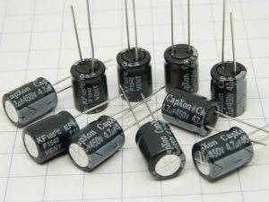 4,7uF 450V condensatore elettrolitico Capxon P1542 VENT KF105° low esr 10x12,5 (n.10 pezzi)