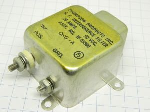 R.F. interference filter 50Vdc 20A heavy duty  MIL , Thompson Prod. Corp.