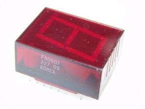 Display led red FND807 Fairchild, common anode, decimal point