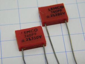 360pF 350V 2% condensatore Mica/Argento Lemco (n.2 pezzi)