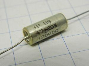 47uF 20Vcc condensatore al Tantalio mm.17x7,5