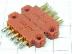 Connettore completo SOURIAU  5pin  passo mm.4,  contatti dorati