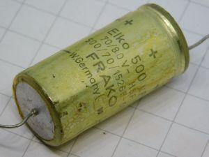 500uF 70/80Vcc condensatore elettrolitico assiale FRAKO 1526F