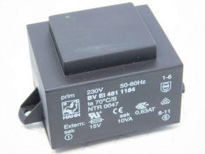 Trasformatore resinato  220/15V  10VA  0,63A  50/60Hz da circuito stampato