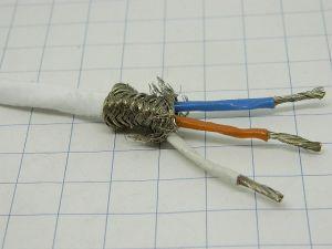 Shielded cable 3xAWG14 Teflon white Rhodium