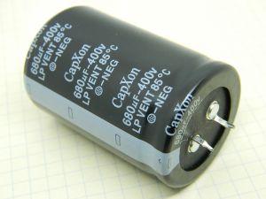 680uF 400Vcc condensatore elettrolitico CapXon LP VENT 85° Snap-in