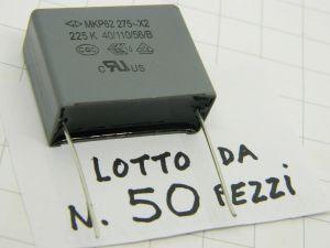 2,2uF 275Vac condensatore polipropilene  MKP62 275-X2 225K  (n.50 pezzi)
