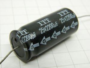 2200uF 25Vcc condensatore elettrolitico assiale ITT , vintage audio