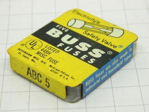 Fusibile 5A  6,2x32   BUSS fuses ABC5 (N.5 PEZZI)
