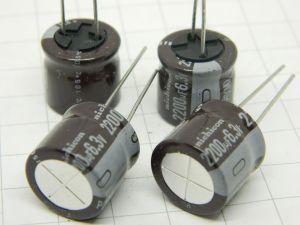 2200uF 6,3Vcc condensatore elettrolitico Nichicon PD(M) 105° (n.4 pezzi)